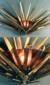 "Eternal Light / Ner Tamid by David Klass of Synagogue Art: Beth Sholom, Teaneck, NJ  Welded bronze & cast glass, 23""h x 26""w"