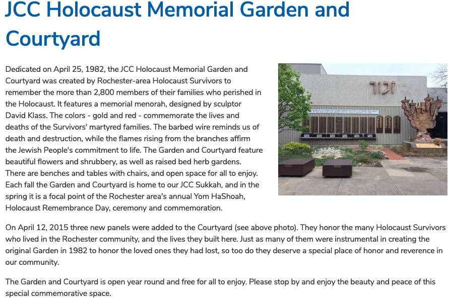Large Menorah created by David Klass for a Holocaust Memorial and Garden in Rochester, NY.